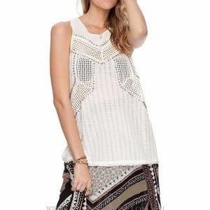 Free People The Point Pointelle Embellished Top S